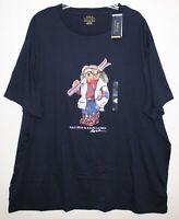 Polo Ralph Lauren Big & Tall Mens LT Navy Blue Ski Polo Bear T-Shirt NWT Size LT