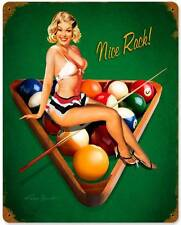 PIN UP GIRL Nice Pool Rack Licensed Retro Metal Sign MAN CAVE GARAGE DEN RB067