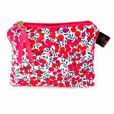 Luxury Liberty Fabric Flat Purse Cosmetic Make Up Bag Design Wiltshire Red