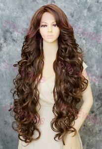 Blonde/Brown/Auburn Extra Long Loose Curly Lace Front Human Hair Blend Wig STEZ