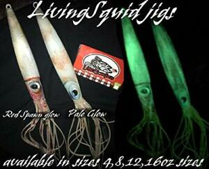 Lingcod jigs New LivingSquid lure glow jigging slow pitch fall flat shipping