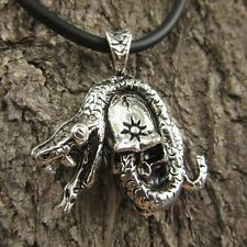 E14 SKULL PENDANT MEN SNAKE PEWTER NECKLACE LADY BIKER ORNAMENT NEW FASHION PUNK