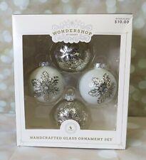 Target 2017 Wondershop Snowflake Glass Ornaments NEW White Silver Mercury