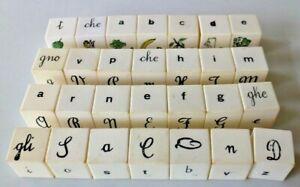 Gioco didattico con dadi in celluloide – anni 50 - per imparare l'alfabeto