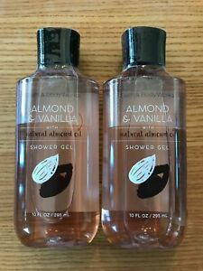BATH & BODY WORKS ALMOND & VANILLA SHOWER GEL, 10 OZ, LOT OF 2, FULL SIZE