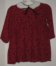 MARTIN EMPREX Size 16 Red Floral Long Sleeves Button Up Dress (Made in England)