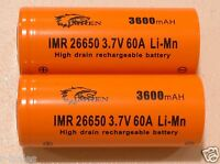 2 IMREN IMR 26650 HIGH DRAIN 60A BATTERY 3.7v Rechargeable  Li-MN 3600mAh NEW!