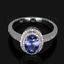 Jewelry Sets Oval 5x7mm Solid 14Kt White Gold Natutral Diamond Tanzanite Ring