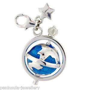 Tingle Sterling Silver Charm Clip on Spinning Globe with Gift Box and Bag SCH242
