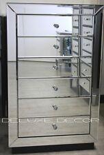 BRAND NEW Ella Modern SILVER Mirror 6 Drawer Narrow Slim Chest Tall Boy 2701S