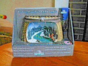 Rivers Edge Resin Novelty Fishing Creel w Lighted Scene Tabletop Decoration NIB
