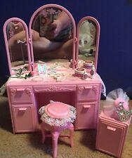 Vintage Barbie Doll Sweet Roses Vanity & Nightstand Furniture With Accessories