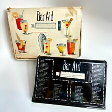Vintage 1950's Metal BAR AID Cocktail Recipe Rolodex Guide With Box