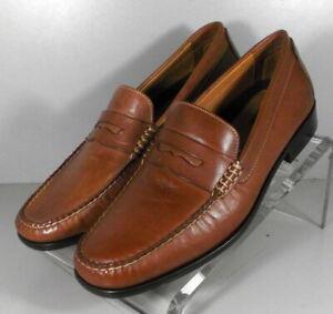 209002 DF50 Men's Shoes Size 8.5 M Dark Tan Leather Slip On  Johnston & Murphy
