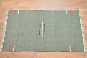 Unique Carpet Rug Kilim Hand Knotted & Woven In India 100% Wool 150x85cm Green