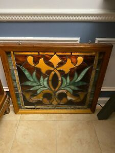 "Large stained glass window ANTIQUE VINTAGE CHURCH SALVAGE BEAUTIFUL 28"" X 25"""