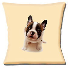 "NEW CUTE FRENCH BULLDOG PUPPY PHOTO BLACK BROWN WHITE 16"" Pillow Cushion Cover"