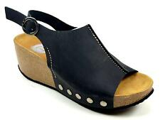 WOMENS RED OR DEAD JACKSON BLACK LEATHER BUCKLE STUD WEDGE SANDALS SHOES SIZE 6