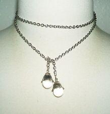 POOLS OF LIGHT Lariat Necklace ROCK CRYSTAL QUARTZ ORBS Art Nouveau Silver Plate