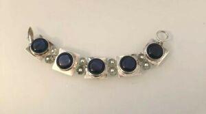 Unique Artisan Blue Topaz Gemstone & Glass Panel Bracelet 925 Sterling Silver