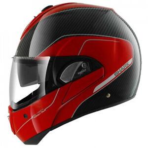 Shark Evoline S3 Pro Carbon Motorcycle Motorbike Flip Front Modular Helmet - Red