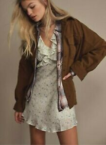 BNWT Free People Clyde shirt jacket in moss green oversized small RRP $168