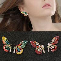 Women Crystal Rhinestone Butterfly Ear Stud Earrings Eardrop Fashion Jewelry