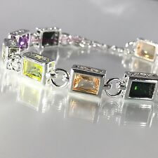 Sterling Silver Finish BOX Rainbow Multi-Color Created Topaz CZ Tennis Bracelet