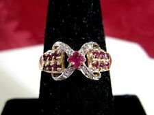 14K YELLOW GOLD RUBY AND DIAMONDS CLUSTER COCKTAIL RING SIZE 7.75