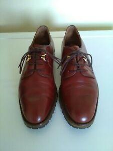 Handmade La Parigina Ladies Dark Tan Leather Lace Up Oxford Shoes Size 5