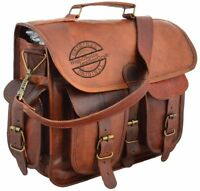 "17"" Mens Real Vintage Leather Messenger Business Laptop Briefcase Satchel Bag"