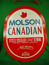 "Large ""01 Molson Canadian Lager Beer Metal Tin Sign 35"" x 27"" in Great Condition"