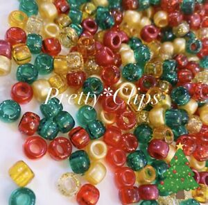 3 FOR 2 X100 CHRISTMAS SPARKLE MIX 🎅🏻 9 X 6mm PONY BEADS FOR CRAFTS