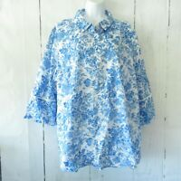 New Isaac Mizrahi Live! Top 22W Blue Button Shirt Toile Floral Plus Size