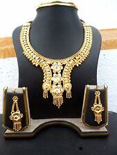 22K Gold Plated 9'' Long Indian Short Necklace Earrings Set Fashion
