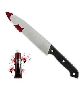 Bloody Kitchen 31cm KNIFE & FAKE BLOOD Halloween Horror Fancy Dress Blood Blade