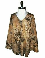 NEW MAGGIE BARNES Plus Size 2X 22 24 Shirt Top Brown Black Animal Print Stretch