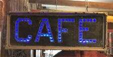 Antique Punched Tin Cafe Sign Lighted Non Neon Delivery and Shipping Available