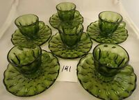 Set of 6 Cups Saucers Anchor Hocking Fairfield Avocado Green Glass Dinnerware