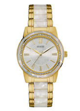 New Guess Women U0706L3 Round White Dial Crystals Acetate Gold Band Dress Watch