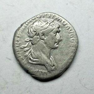 TRAJAN 98-117 AD AR Denarius Ancient Authentic Roman coin