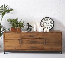 Industrial Solid Oak & Metal Low Extra Wide Sideboard / Cabinet 200cm 50cm 77cm