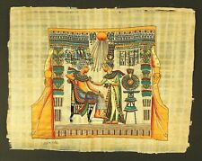 Rare Authentic Hand Painted Ancient Egyptian Papyrus-King Tut & Wife-Gold Shrine