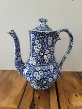 """Burleigh Calico Blue Rare 9"""" Tea Pot. Stamped Crownford China Staffordshire..."""