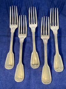 "Christofle ""Chinon"" 8 1/8"" Dinner Forks Set Of Five With Monogram"