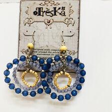 New Treska Women's Blue & Wood Beads Triple Hoop Pierced Earrings