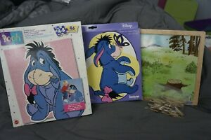Disney Winnie the pooh Eeyore puzzle, paint by number and magnetic board wood