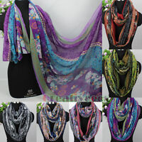 Fashion Women's Striped Floral Print Soft Long Scarf/Infinity Loop Cowl Scarf