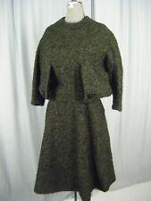BOB BUGNAND/MONTALDO'S Vtg 60s Olive/Black Wool Avant Garde Dress-Bust 41/2XS-XS