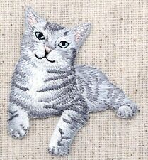 Gray Striped Kitten/Kitty Cat Tabby/Pets - Iron on Applique/Embroidered Patch